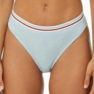 Ribbed striped trim hipster panty